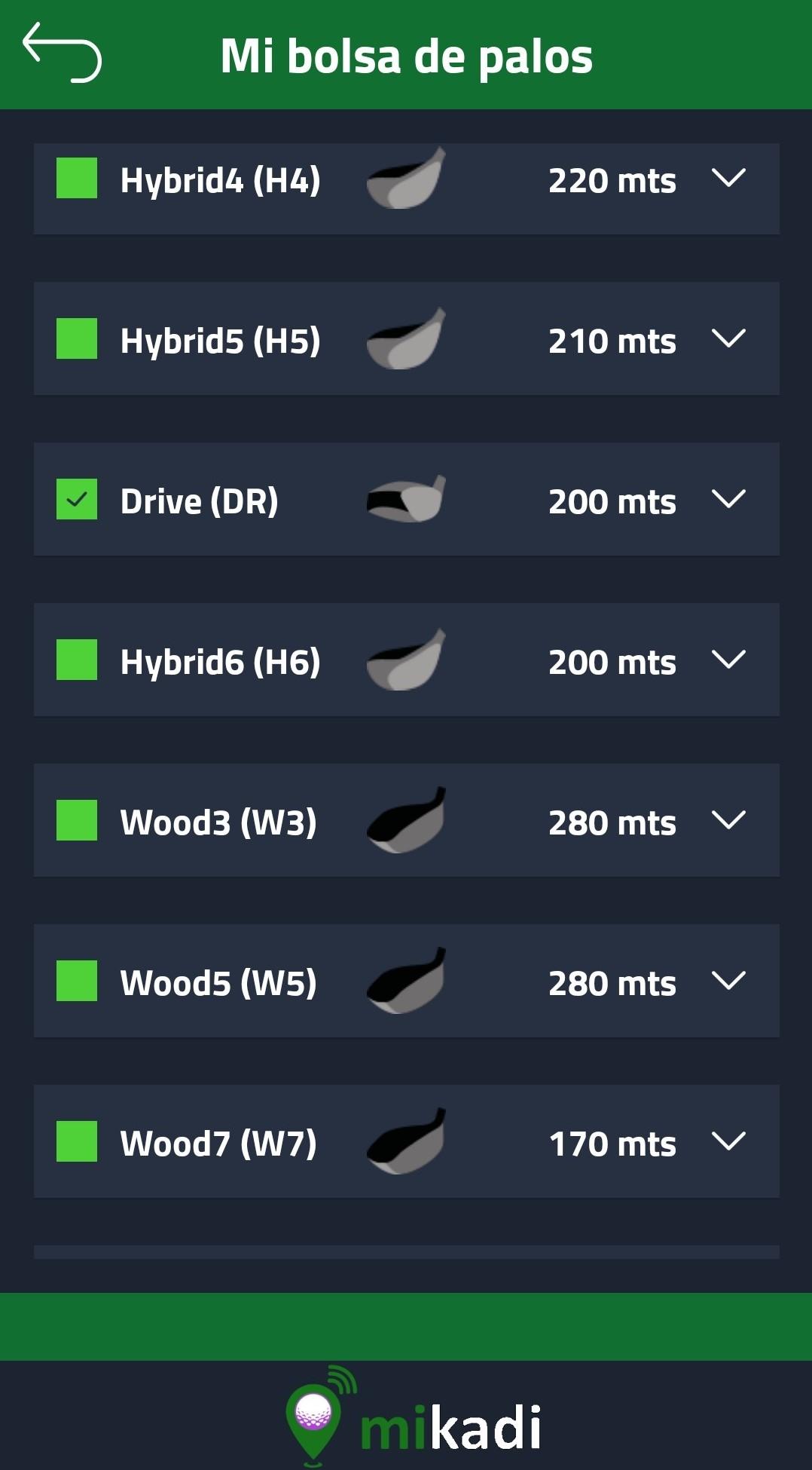 Distancias palos de golf