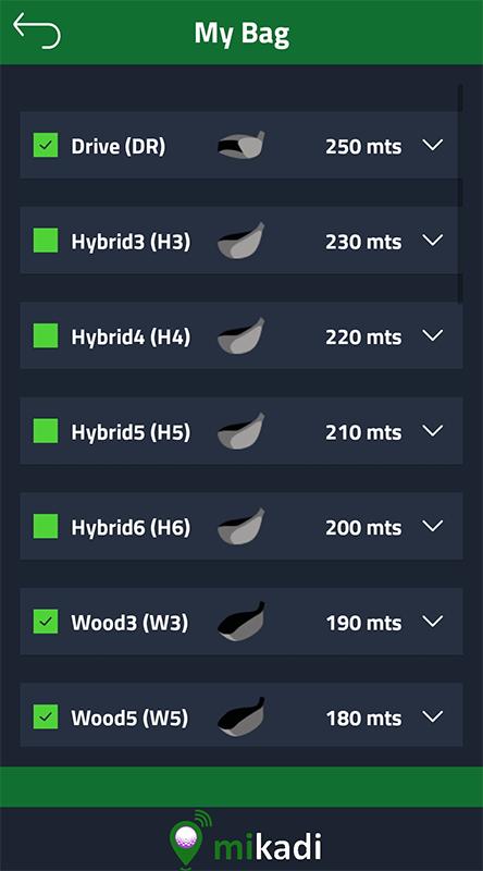 Golf clubs distances